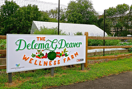 The Delma G. Deaver Wellness Farm sign
