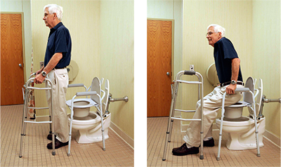 Demonstrating technique for toileting