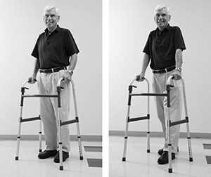 Demonstrating technique for using walker without wheels
