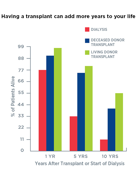 Chart comparing dialysis vs transplants using percentage of patients alive over years after transplant or start of dialysis