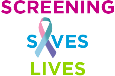 The words screening saves lives with a multi-colored cancer ribbon