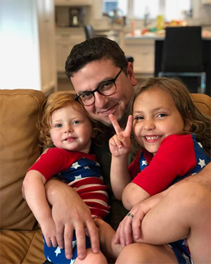 Adam Bodzin with his two daughters