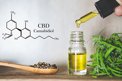 Hemp oil, CBD chemical formula, Cannabis oil in pipette and hemp seeds in a wooden spoon, Medical herb concept