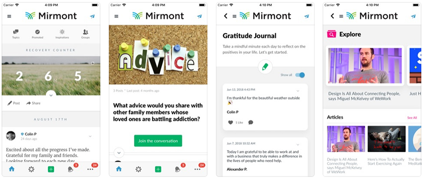 Line of screenshots of the Mirmont Treatment Center app