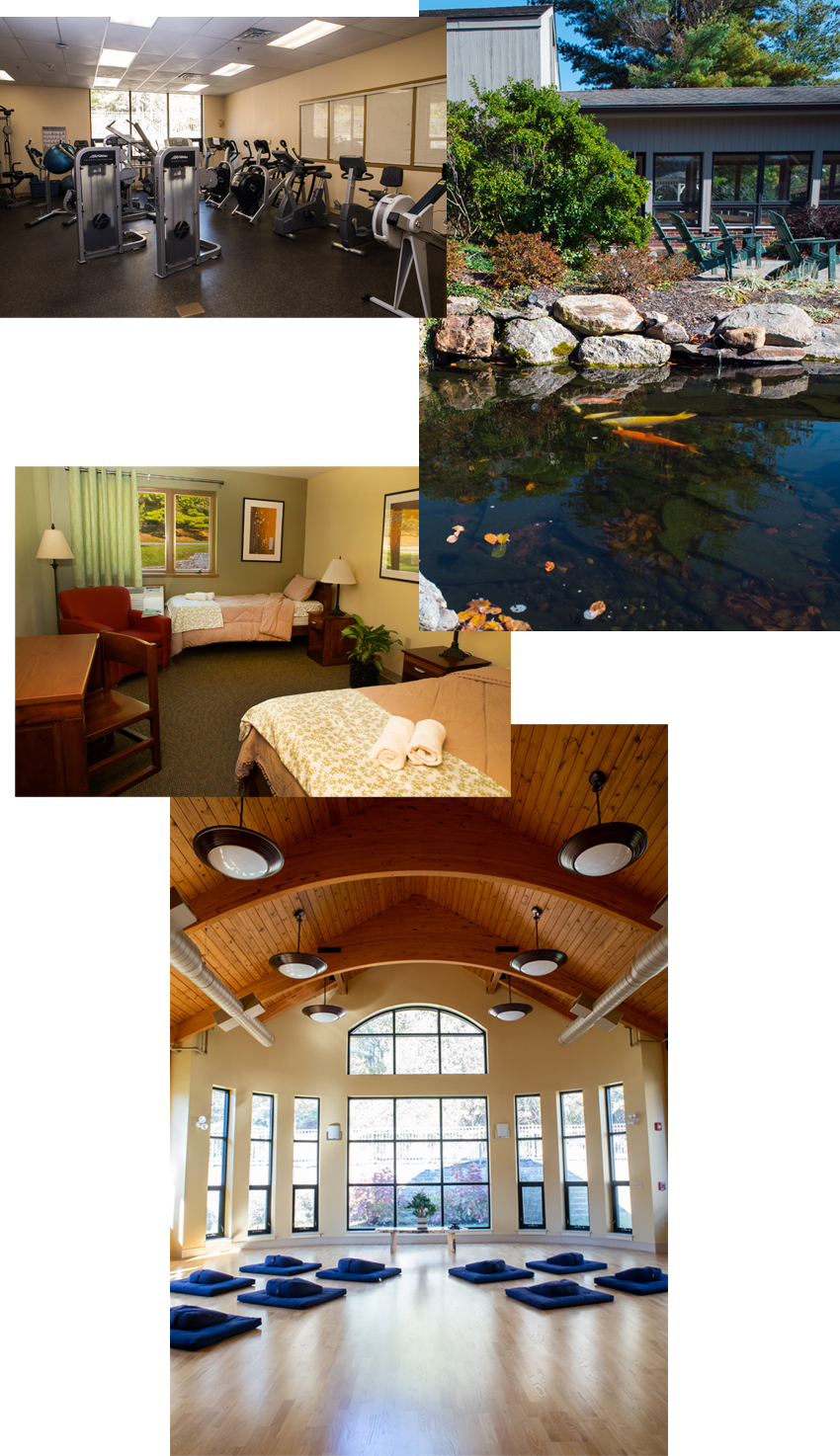 Collage of images taken around Mirmont Treatment Center (workout room, Koi pond, bedroom, meditation room)