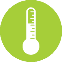 green circle icon with illustration of thermometer