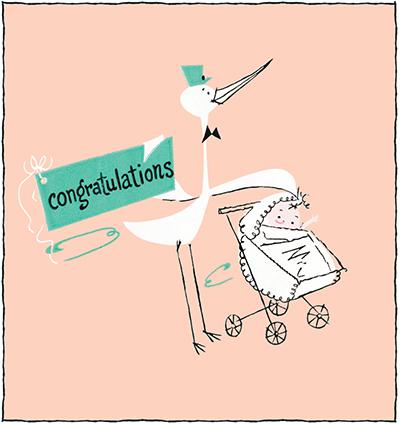 Stork holding congratulations sign, standing next to baby in stroller
