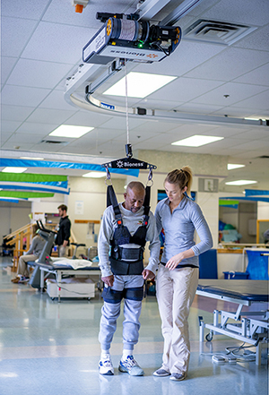Gentleman at Bryn Mawr Rehab Hospital using the Bioness Vector for gait training