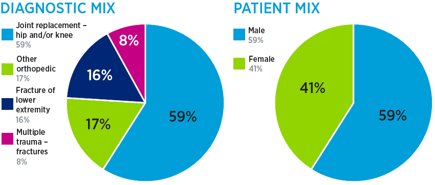 Ortho inpatient rehab diagnostic mix: 59% joint replacement (hip and/or knee), 17% other orthopedic, 16% fracture or lower extremity and 8% multiple trauma - fractures; and patient mix: 59% male and 41% female