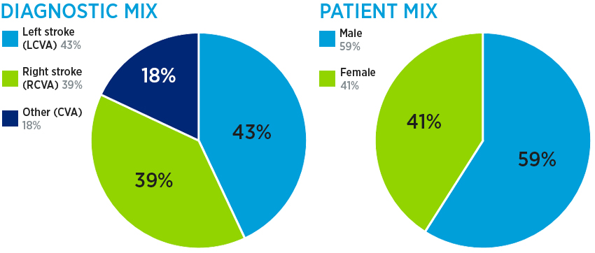 Stroke rehab diagnostic mix: 38.4% right stroke (RCVA), 36.8% left stroke (LCVA) and 24.8% other (CVA); and patient mix: 56% male and 44% female