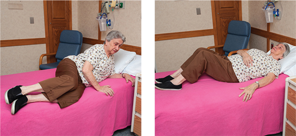 Two images illustrating how to get in bed at home after spine surgery