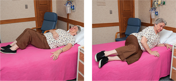 Two images illustrating how to get out of bed at home after spine surgery
